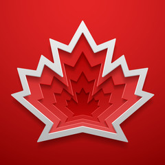 Maple leaf cutted out shape. Canadian symbol decoration template. Vector illustration.