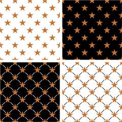 Bronze Color Nautical Star Seamless Pattern Set