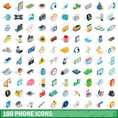 100 phone icons set, isometric 3d style
