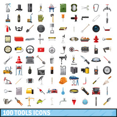100 tools business icons set, cartoon style