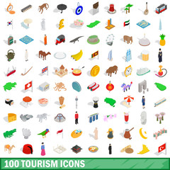 100 tourism icons set, isometric 3d style