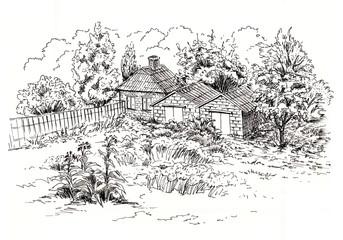 Sketch of rural landscape with old cottage, barn, garage and garden. Ink sketch