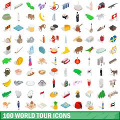 100 world tour icons set, isometric 3d style