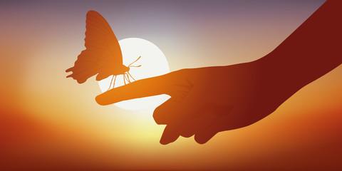 papillon - main - douceur - beauté - coucher de soleil