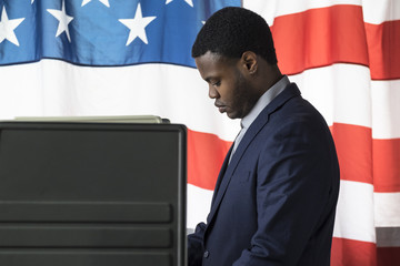 Young black male voting