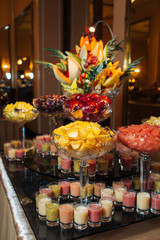 Great catering in the restaurant, canapés and various snacks, sweets catering
