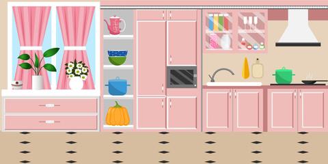 The interior of the kitchen. Flat style. Cartoon. Vector illustration