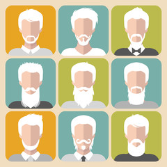 Vector set of different old man with gray hair app icons in flat style.