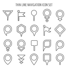 Linear map pin mini icons. Flags and pins, signs arrows thin line symbols