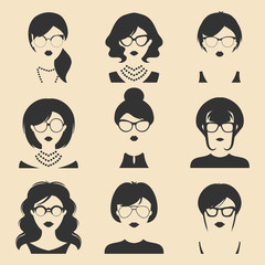 Big vector set of different women app icons in glasses in flat style. Female faces or heads images.