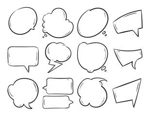 Wall Mural - Doodle blank speech bubbles, hand drawn cartoon thinking shapes vector set