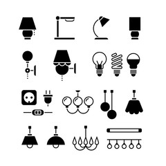 Wall Mural - Lamp, light bulbs and electrical equipment vector black silhouette icons set