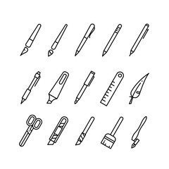 Drawing and writing tools, stationery line vector icons.