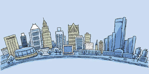 Cartoon illustration of the waterfront of Detroit, Michigan, USA.
