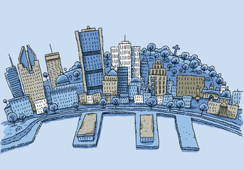 Cartoon illustration of the waterfront of Montreal, Quebec, Canada.