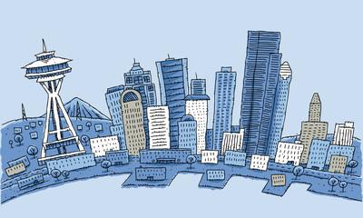 Cartoon illustration of the waterfront of Seattle, Washington, USA.