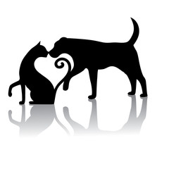 Dog and cat touching noses silhouette. They form a heart. EPS 10 vector.
