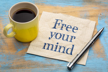 free your mind reminder on napkin