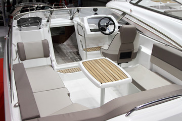 The interior is a modern open pleasure boats.