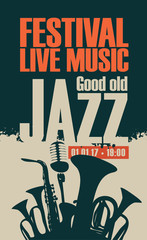 poster for the jazz festival with saxophone, wind instruments and a microphone