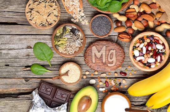 Foods containing magnesium. Healthy diet eating concept. Top view.