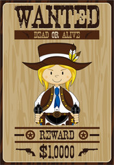 Cartoon Wild West Cowboy Wanted Poster