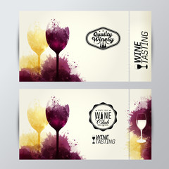 wine glasses with background stains. Promotion tickets
