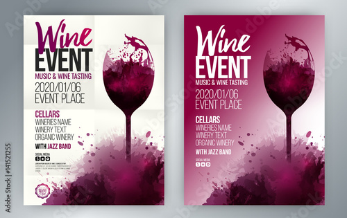 Template For Invitations Promotions And Wine Events Stock Image - Wine tasting event flyer template free