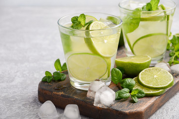 Cold refreshing summer drink with lime and mint in a glass on a grey concrete or stone background. Selective focus.