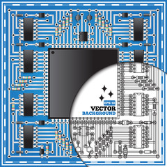 The electronic board on a blue background. Vector illustration.
