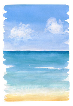Watercolor painting the background of sea view with jagged edges and brush marks. Sea sand beach under blue sky with clouds.