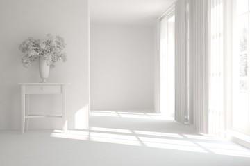 White modern empty room. Scandinavian interior design. 3D illustration
