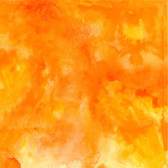 Vector orange abstract hand drawn watercolor background