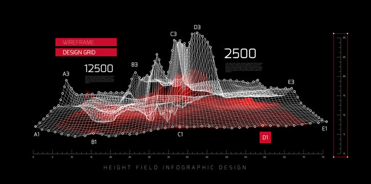 Height field infographic design. Vector illustration