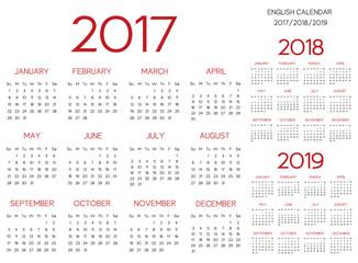 English Calendar 2017-2018-2019 vector red