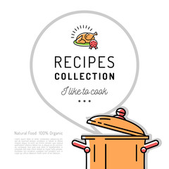 Recipe book Menu template Cookbook cover. Boiling pot, Speech bubble with space for text. Vector minimal design