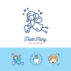 Tooth Fairy logo Сhildren's dentistry thin line art icons