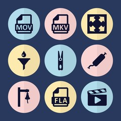 Set of 9 clip filled icons