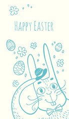 Happy Easter. Vector hand drawn illustration with bunny, flowers and eggs. Greeting card