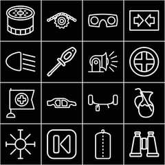 Set of 16 sign outline icons