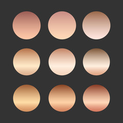 Rose gold gradient collection for fashion design, vector illustration.