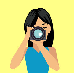 Female photographer taking a photo. Female photographer character. Vector stock.