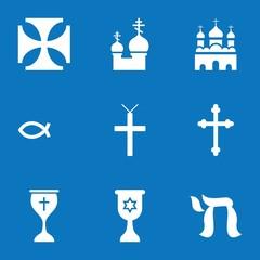 Set of 9 catholic filled icons