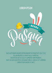 Happy Easter Italian Calligraphy Greeting Card. Modern Brush Lettering. Joyful Wishes, Holiday Greetings. Pastel Background. Bunny and Chicken.