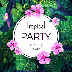 Bright vector floral banner template for summer beach party. Tropical flyer with green exotic palms and pink flowers.