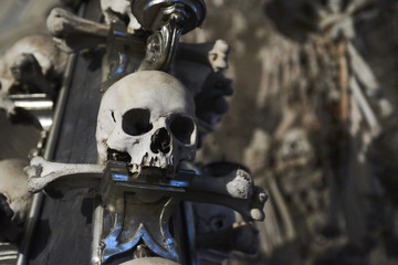 Interior of the Sedlec ossuary (Kostnice) decorated with skulls and bones