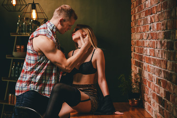 Hot woman flirting with man