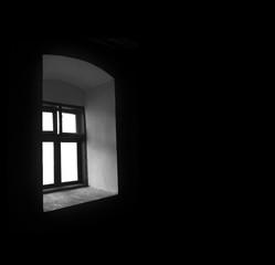 Vintage window in a dark room.