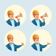Set of builder cartoon character. Vector illustration of male worker in yellow helmet