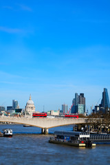 Miniaturised Shot Of London Skyline Towards City And St Pauls Cathedral
